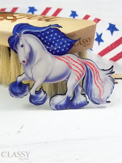 Patriotic Cantering Gypsy Horse Ornament