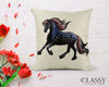Friesian Horse Pillow Cover - Patriotic Cantering Friesian Horse