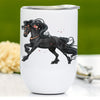 Pink Floral Friesian Horse Wine Tumbler