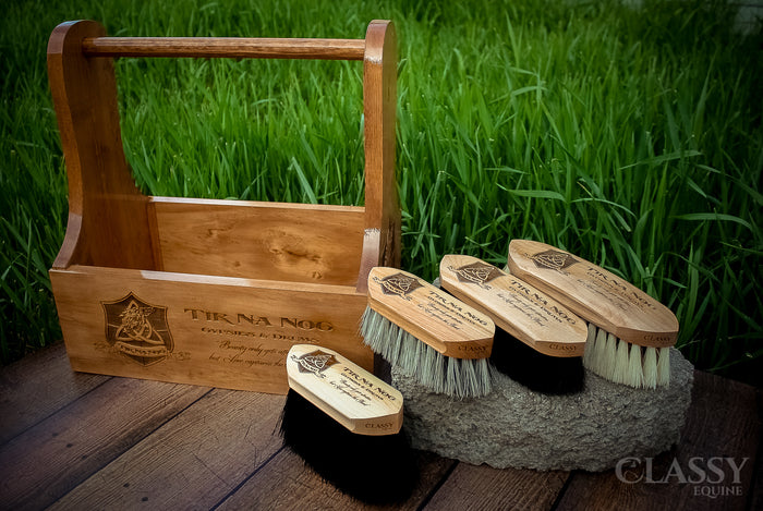 Deluxe Personalized Wood Horse Grooming Tote + Horse Grooming Brush Set