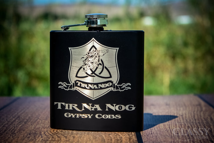 Personalized Black Stainless Steel 6 oz Hip Flask