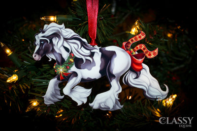 Christmas Ornament - Full Set of Tobiano Gypsy Horses with Star