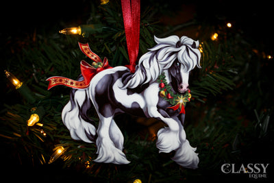 Gypsy Vanner Horse Christmas Ornament - Tobiano Gypsy Horse with Star