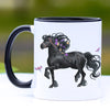 Trotting Friesian Horse II Coffee Mug - 11 oz