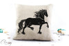Friesian Horse Pillow Cover - Hopeful Trotting Friesian Horse