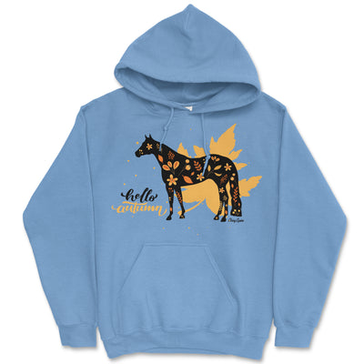 Hello Autumn Quarter Horse Hooded Sweatshirt - Available in Blue or Pink