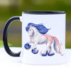 Patriotic Cantering Gypsy Horse Coffee Mug - 11 oz