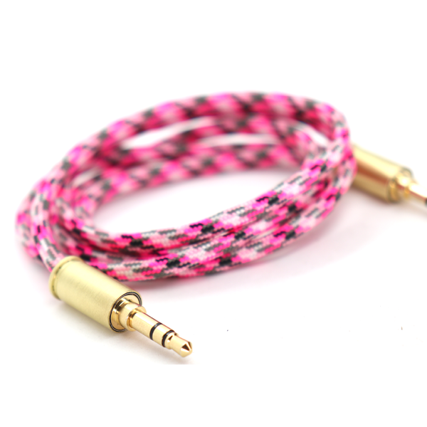 Double Tap Auxiliary Cable - Pink Camo