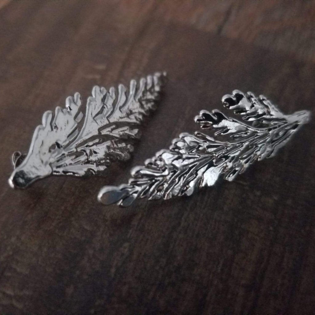 Studs earrings made with Portuguese lace leaf - Simply Nature Bio Goods