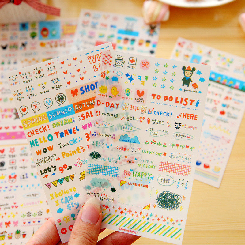 Kawaii Doodle Stickers - 6 Sheets Pack