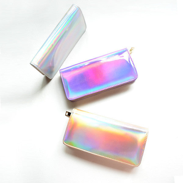 Hologram leather purse