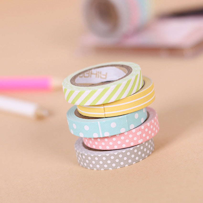 5 Pack Candy Color Washi Tape