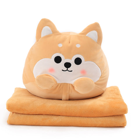 Shiba Inu Pillow With Blanket Combo