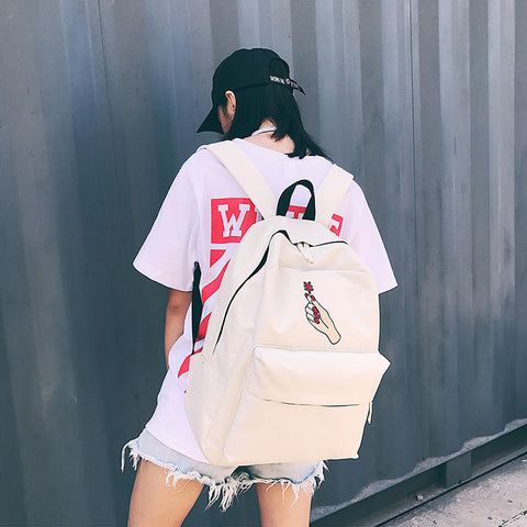 Rose Embroidered Backpack