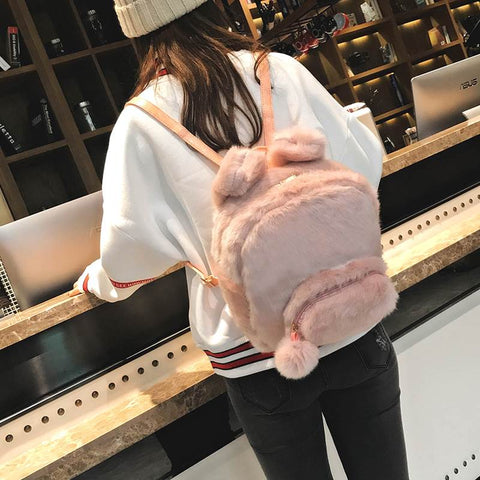 Bunny Ears Faux Fur Backpack