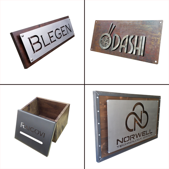 Custom industrial business logo signs and personalized last name signs