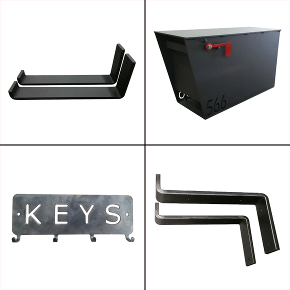 Shelf brackets, key racks and heavy duty mailbox