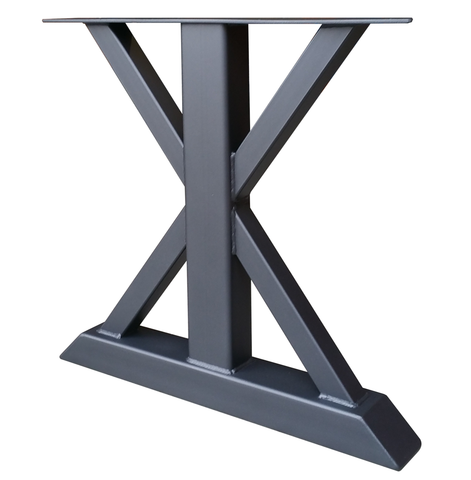 Textured matte black powder coat on metal trestle table leg