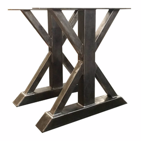 bare metal or clear lacquer finish on metal trestle table leg
