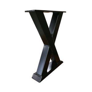 metal X Bench legs that pair well with out steel trestle dining table legs