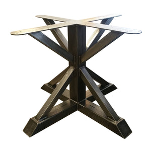 "Dining Height 28-1/2"" Tall - Metal Pedestal Trestle Table Base - Round or Square Table Top, Single leg, Industrial Steel Stand"