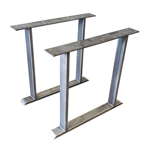 "Dining Table Height 28-1/2"" Steel Rectangle Tubing Double Post Table Legs - Heavy Duty Steel Table Base"