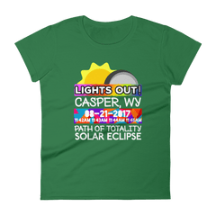 "Women's - Casper WY - Solar Eclipse Short Sleeve T-Shirt: ""Lights Out!"" PATH of TOTALITY 08-21-2017 w Actual Times"