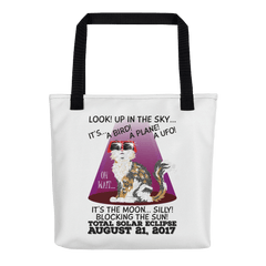 "Solar Eclipse Tote Bag - ""Calico Cat"" Look! Up In The Sky August 21, 2017"