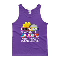 "Men's - Clarksville TN - Solar Eclipse Tank Top: ""Lights Out!"" PATH of TOTALITY 08-21-2017 w Actual Times"