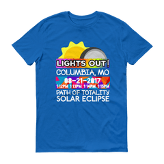 "Men's - Columbia MO - Solar Eclipse Short Sleeve T-Shirt: ""Lights Out!"" PATH of TOTALITY 08-21-2017 w Actual Times"