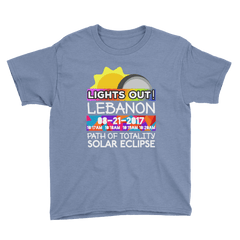 "Boys - Lebanon OR - Solar Eclipse Short Sleeve T-Shirt: ""Lights Out!"" PATH of TOTALITY 08-21-2017 w Actual Times"