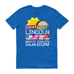 "Men's - Lincoln NE - Solar Eclipse Short Sleeve T-Shirt: ""Lights Out!"" PATH of TOTALITY 08-21-2017 w Actual Times"