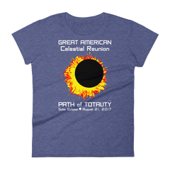 Women's Solar Eclipse Short Sleeve T-Shirt - Sun Moon Dance - Great American Celestial Reunion - Path of Totality August 21, 2017