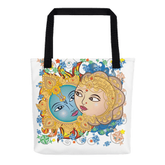 Solar Eclipse Tote Bag - Krishna & Radha - Path of Totality August 21, 2017