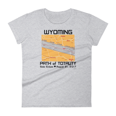 Women's Solar Eclipse Short Sleeve T-Shirt - Wyoming - Path of Totality August 21, 2017