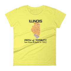 Women's Solar Eclipse Short Sleeve T-Shirt - Illinois - Path of Totality August 21, 2017