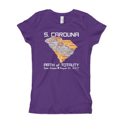 Girls Solar Eclipse Princess T-Shirt - South Carolina - Path of Totality August 21, 2017 - Size S, M, L, XL, 2XL, 3XL, 4XL, 5XL