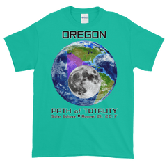 Men's Solar Eclipse Short Sleeve T-Shirt - Oregon - Earth/Moon - Path of Totality August 21, 2017