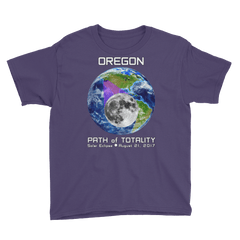 Boys' Solar Eclipse Short Sleeve T-Shirt - Oregon - Earth/Moon - Path of Totality August 21, 2017