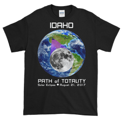 Men's Solar Eclipse Short Sleeve T-Shirt - Idaho - Earth/Moon - Path of Totality August 21, 2017