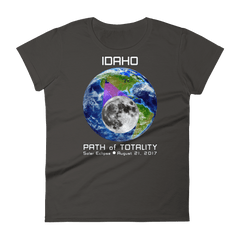 Women's Solar Eclipse Short Sleeve T-Shirt - Idaho - Earth/Moon - Path of Totality August 21, 2017