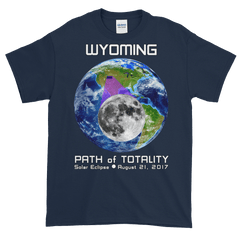 Men's Solar Eclipse Short Sleeve T-Shirt - Wyoming - Earth/Moon - Path of Totality August 21, 2017