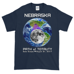 Men's Solar Eclipse Short Sleeve T-Shirt - Nebraska - Earth/Moon - Path of Totality August 21, 2017