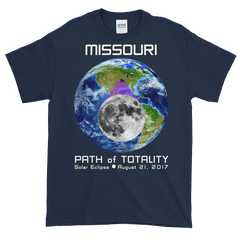 Men's Solar Eclipse Short Sleeve T-Shirt - Missouri - Earth/Moon - Path of Totality August 21, 2017