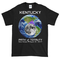 Men's Solar Eclipse Short Sleeve T-Shirt - Kentucky - Earth/Moon - Path of Totality August 21, 2017