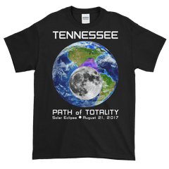 Men's Solar Eclipse Short Sleeve T-Shirt - Tennessee - Earth/Moon - Path of Totality August 21, 2017