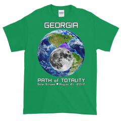 Men's Solar Eclipse Short Sleeve T-Shirt - Georgia - Earth/Moon - Path of Totality August 21, 2017