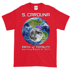 Men's Solar Eclipse Short Sleeve T-Shirt - S. Carolina - Earth/Moon - Path of Totality August 21, 2017
