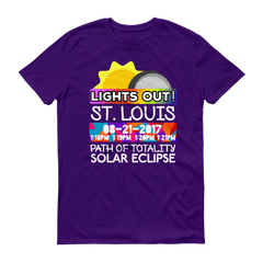"Men's - St. Louis MO - Solar Eclipse Short Sleeve T-Shirt: ""Lights Out!"" PATH of TOTALITY 08-21-2017 w Actual Times"