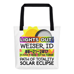 Solar Eclipse Tote Bag - Weiser ID - Path of Totality August 21, 2017